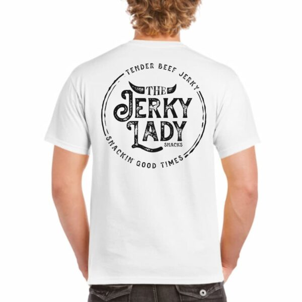 The Jerky Lady heavy T-shirt white back print