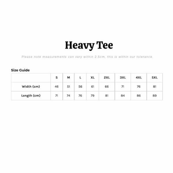 heavy tee size chart
