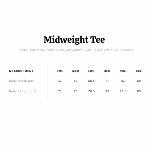 midweight tee size chart